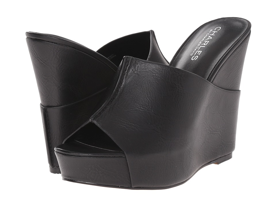 Charles by Charles David Alamo Black Tumbled Womens Wedge Shoes