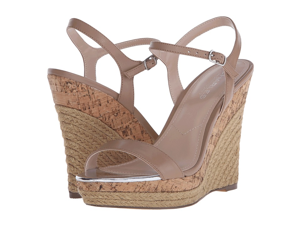Charles by Charles David Arizona Nude Leather Womens Wedge Shoes