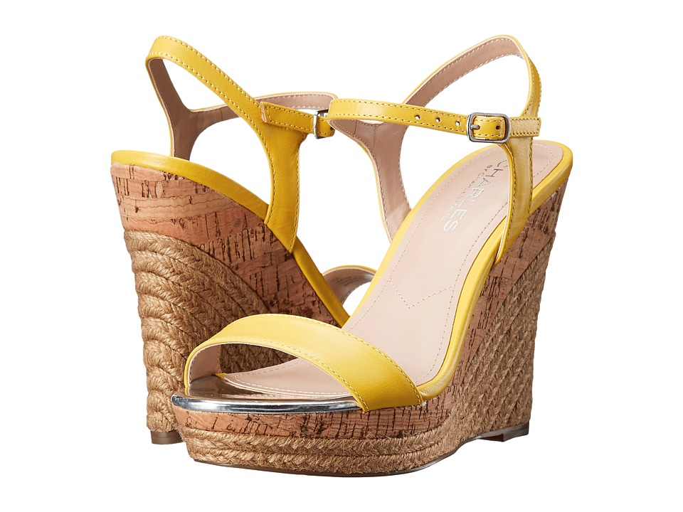 Charles by Charles David Arizona Yellow Leather Womens Wedge Shoes