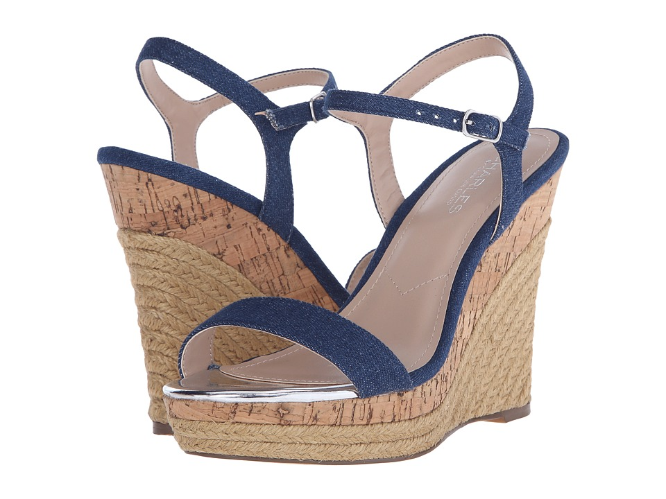 Charles by Charles David Arizona Denim Fabric Womens Wedge Shoes