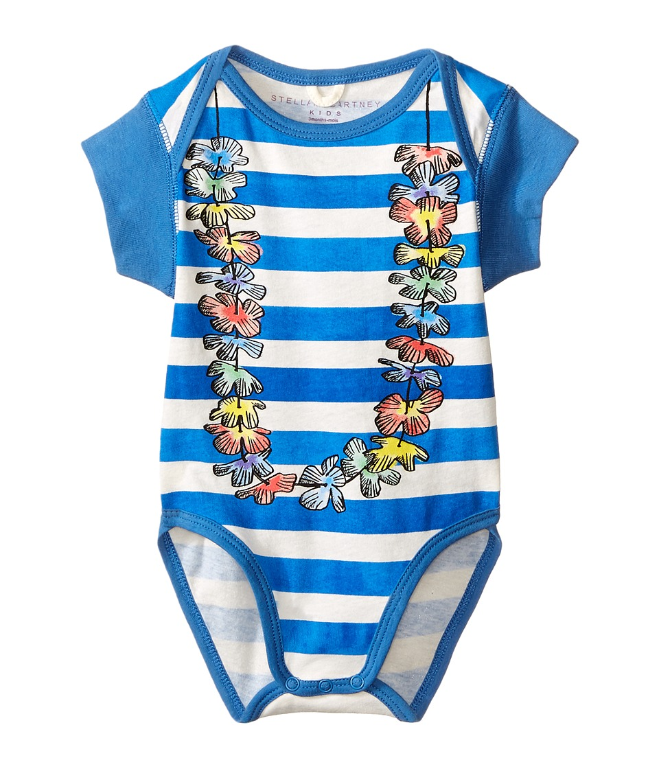 Stella McCartney Kids Cassidy Short Sleeve Striped Lei Body Infant Blue/White Kids Jumpsuit Rompers One Piece