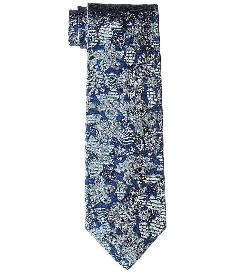 Etro Floral Pattern Regular Width Silk Tie Blue Floral Ties