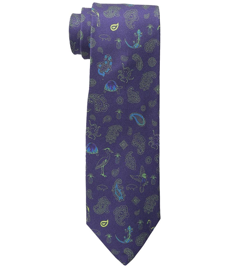 Etro Animal Pattern Regular Width Silk Tie Navy Ties