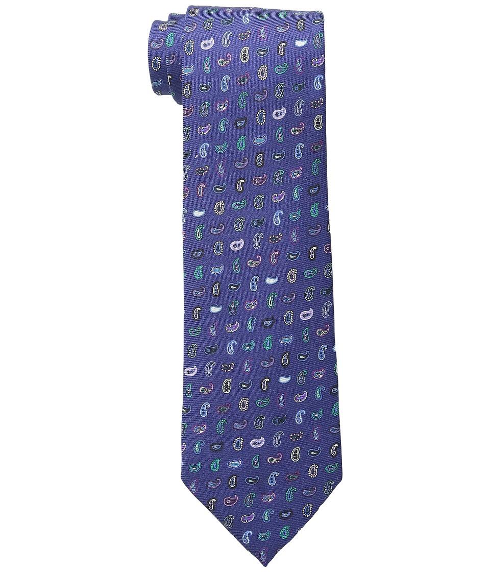 Etro Allover Mini Paisley Regular Width Silk Tie Blue Multi Ties