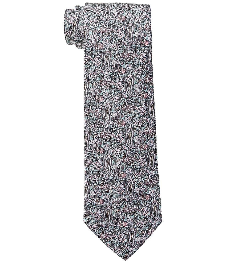 Etro Floral Pattern Regular Width Silk Tie Green/Navy Ties