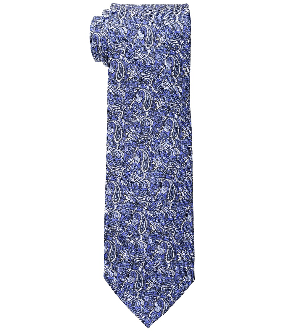 Etro Floral Pattern Regular Width Silk Tie Blue Ties