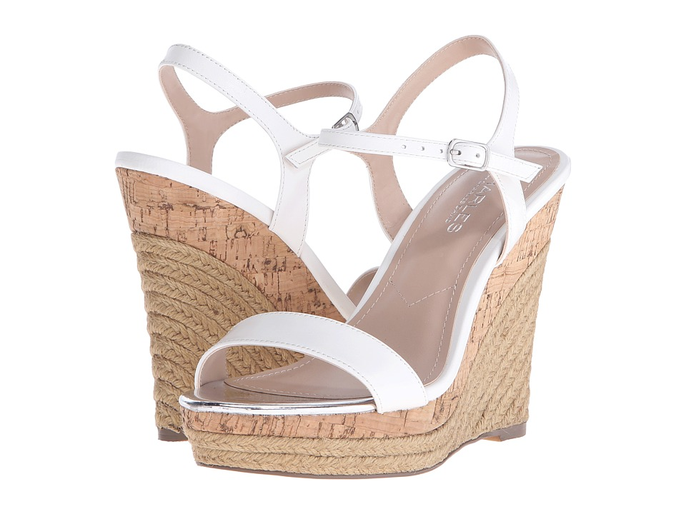 Charles by Charles David Arizona White Leather Womens Wedge Shoes