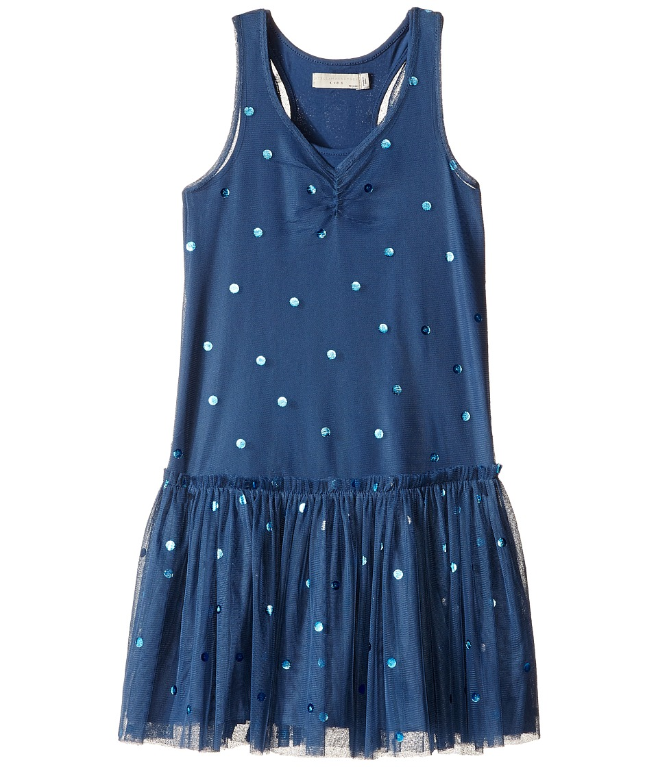 Stella McCartney Kids Bell Polka Dot Tulle Dress Toddler/Little Kids/Big Kids Blue Girls Dress