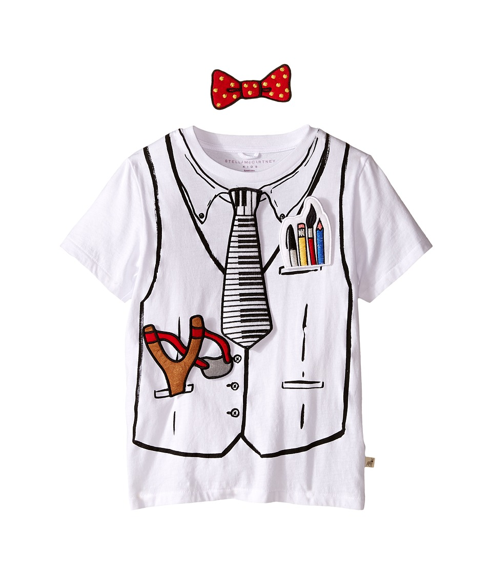 Stella McCartney Kids Arlo Short Sleeve Hook and Loop Doctor Tee with Badges Toddler/Little Kids/Big Kids White Kids T Shirt