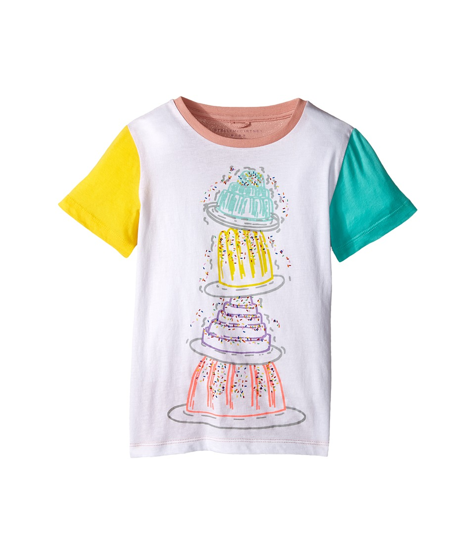 Stella McCartney Kids Arlo Tiered Cake Tee w/ Contrast Sleeves Toddler/Little Kids/Big Kids White Girls T Shirt