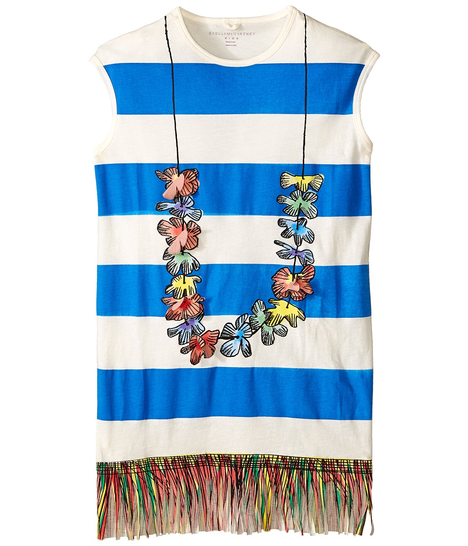 Stella McCartney Kids - Gray Striped Lei Dress w/ Fringe Bottom
