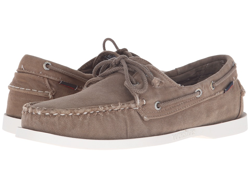 Sebago Canvas Dockside Dark Taupe Canvas Mens Shoes