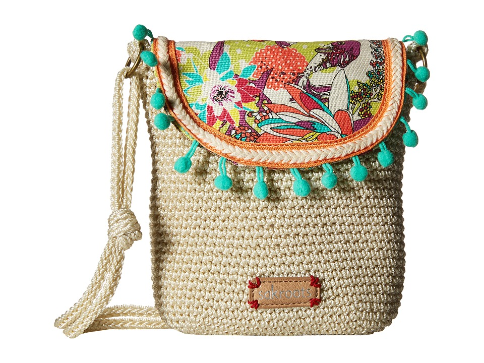Sakroots - Artist Circle Crochet Flap Crossbody (Citrus Xen Garden) Cross Body Handbags