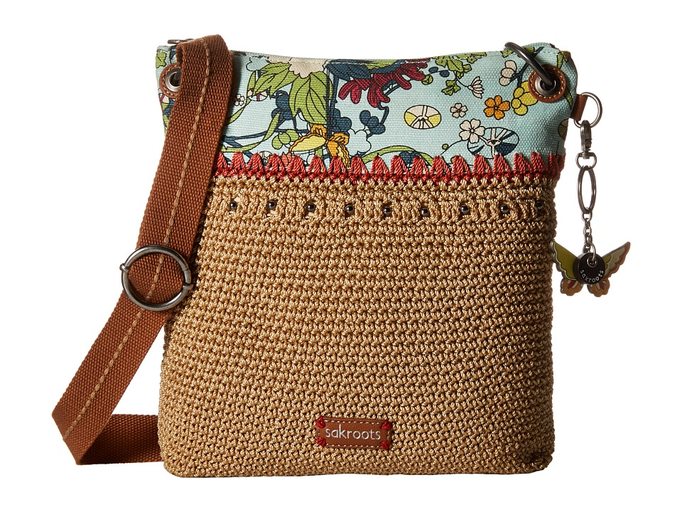 Sakroots - Artist Circle Crochet Crossbody (Seafoam Flower Power) Cross Body Handbags