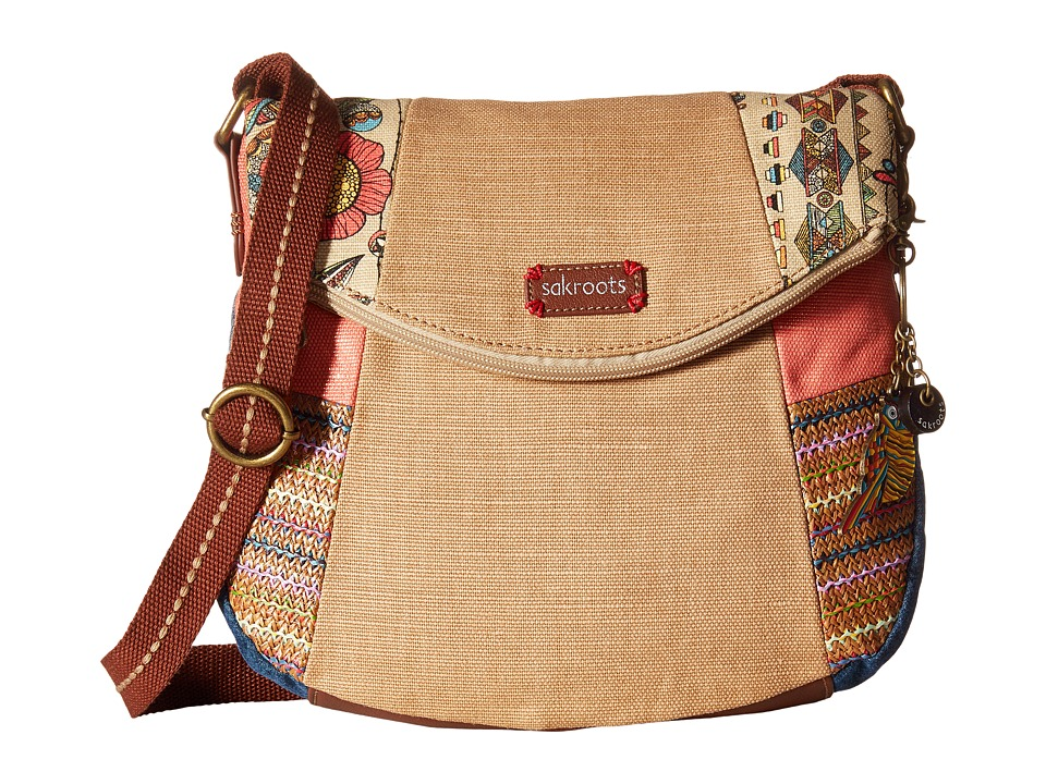 Sakroots - Artist Circle Foldover Crossbody (Camel Spirit Desert Patched) Cross Body Handbags