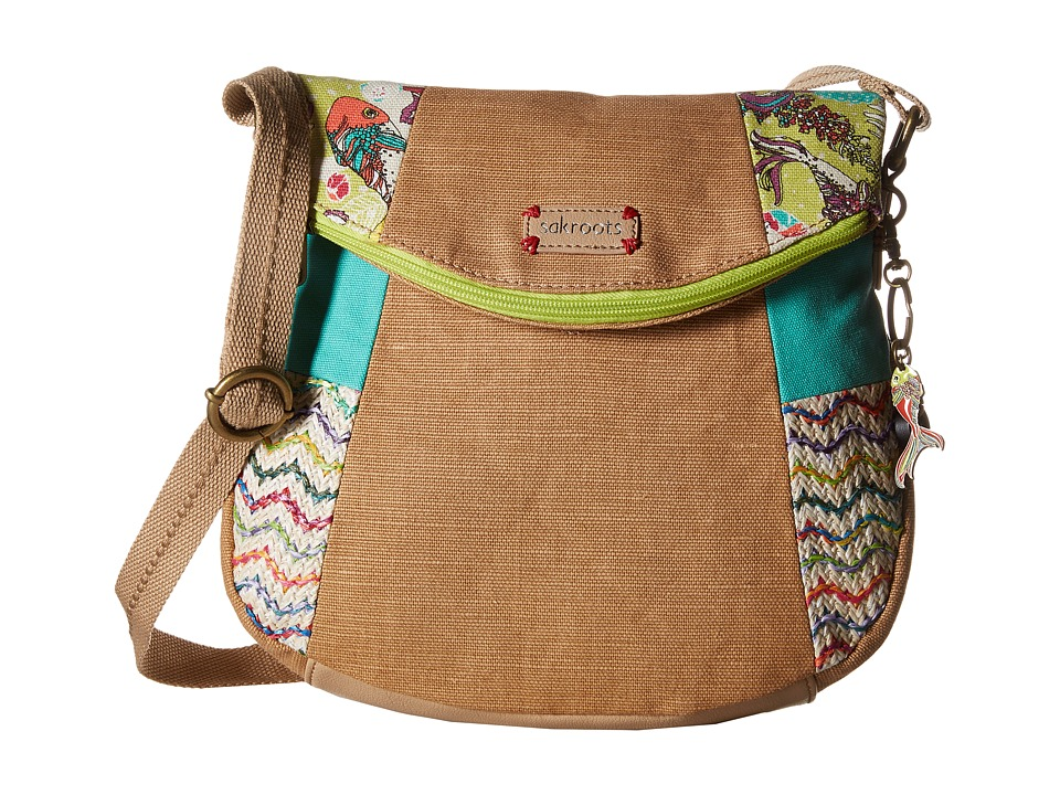 Sakroots - Artist Circle Foldover Crossbody (Citrus Xen Garden Patched) Cross Body Handbags