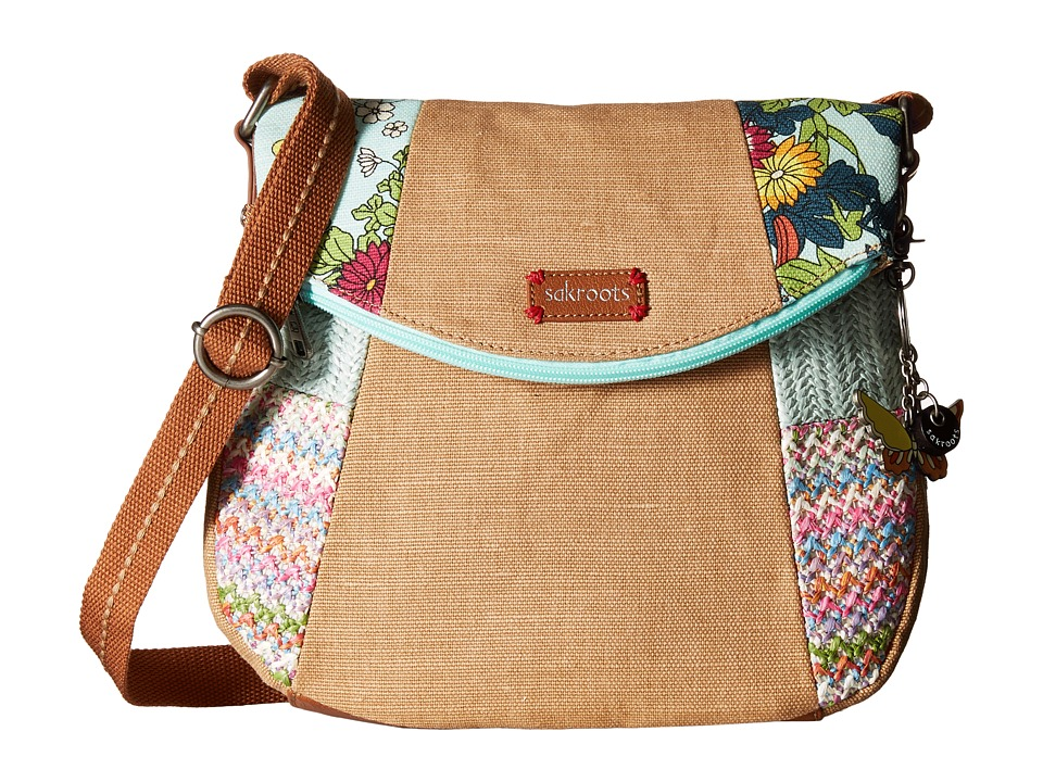 Sakroots - Artist Circle Foldover Crossbody (Seafoam Flower Power Patched) Cross Body Handbags