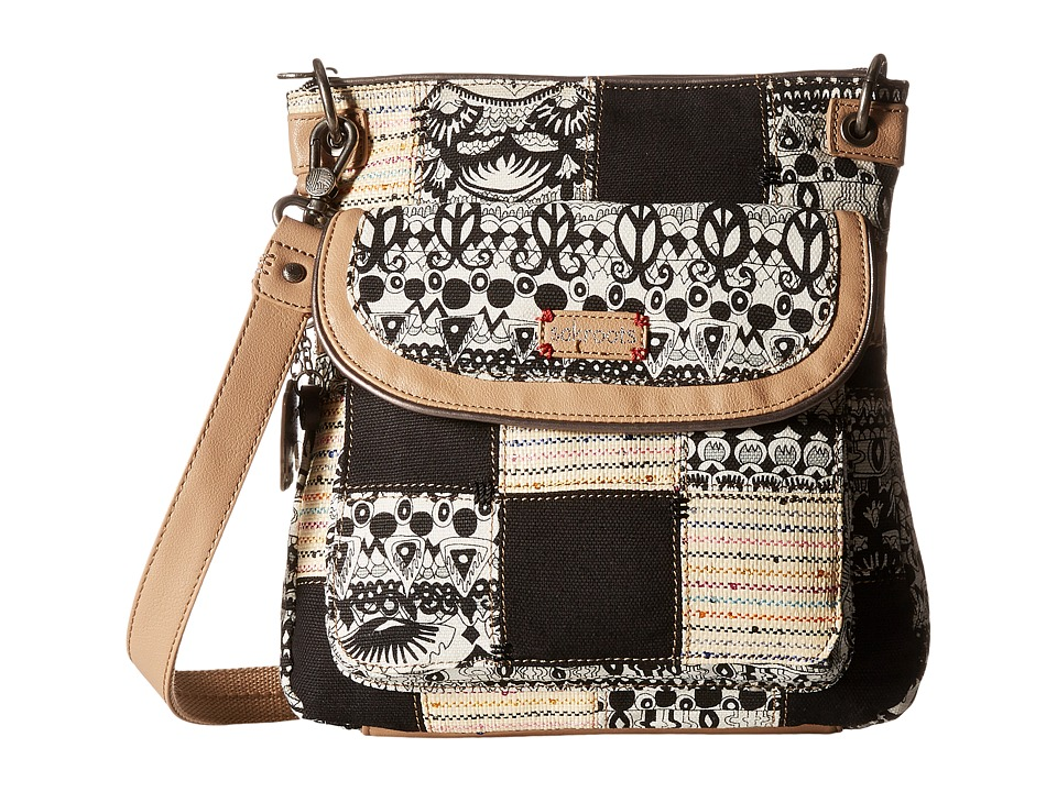 Sakroots - Artist Circle Flap Crossbody (Black/White One World Patched) Cross Body Handbags
