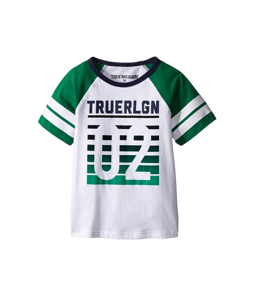 True Religion Kids Vintage Baseball Tee Shirt Toddler/Little Kids White Boys Short Sleeve Pullover