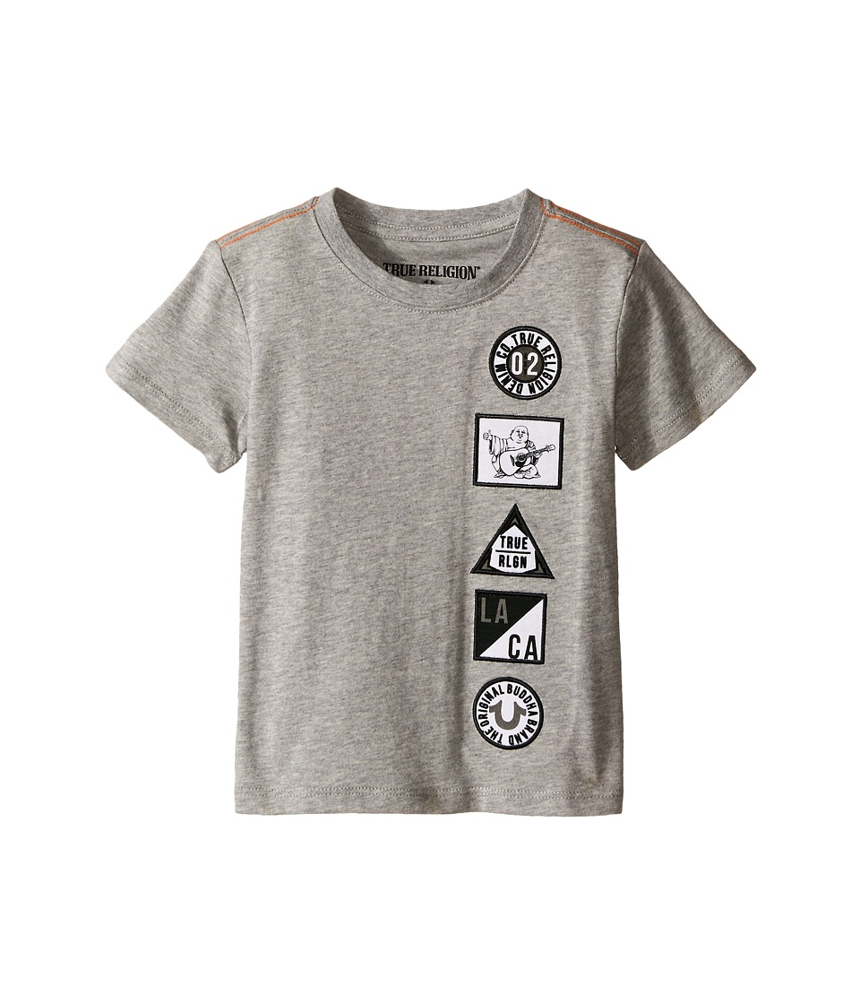 True Religion Kids Patches Tee Shirt Toddler/Little Kids Heather Grey Boys T Shirt