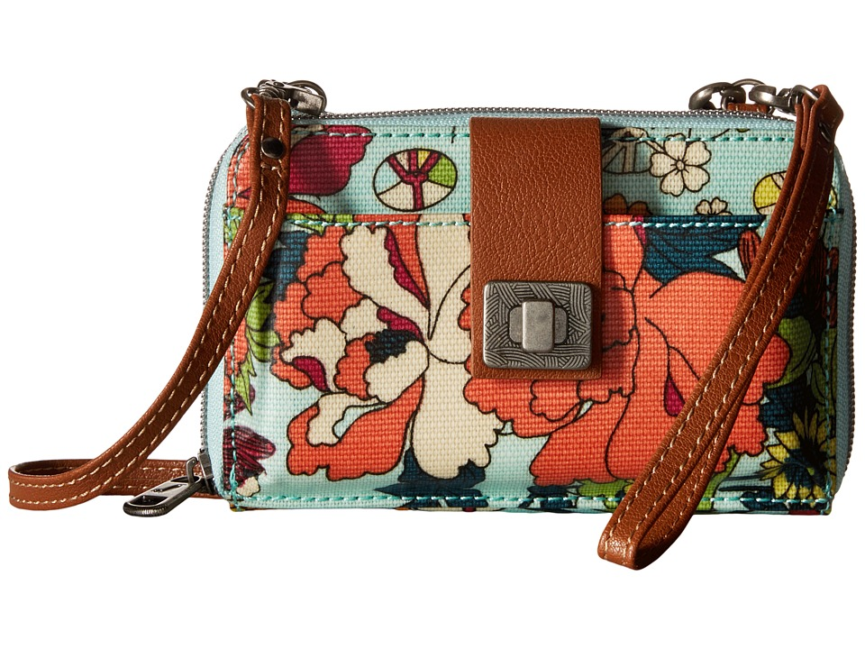 Sakroots Artist Circle Smartphone Crossbody Seafoam Flower Power Cross Body Handbags