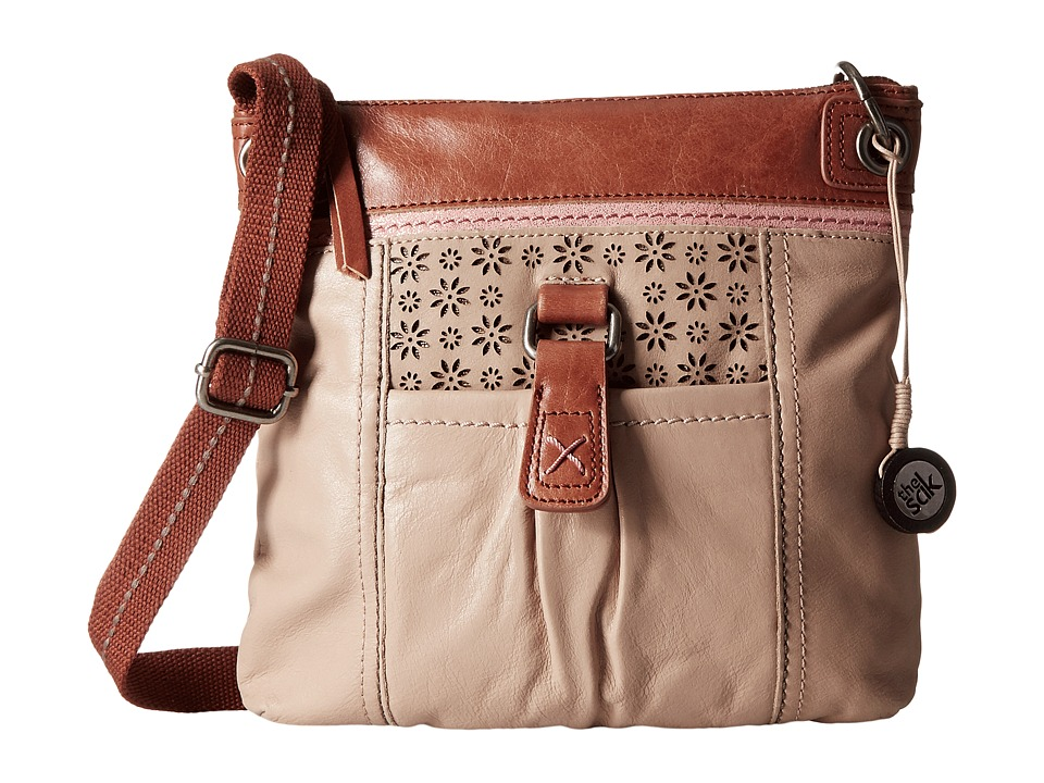 The Sak - Kendra Leather Crossbody (Taupe Floral Perf) Cross Body Handbags