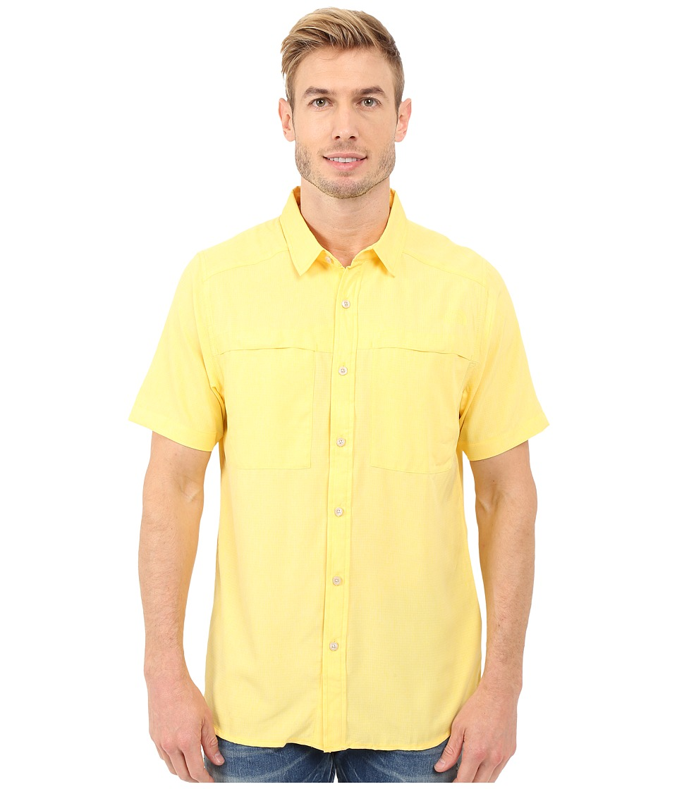The North Face Short Sleeve Traverse Shirt Goldfinch Yellow Heather Mens Clothing