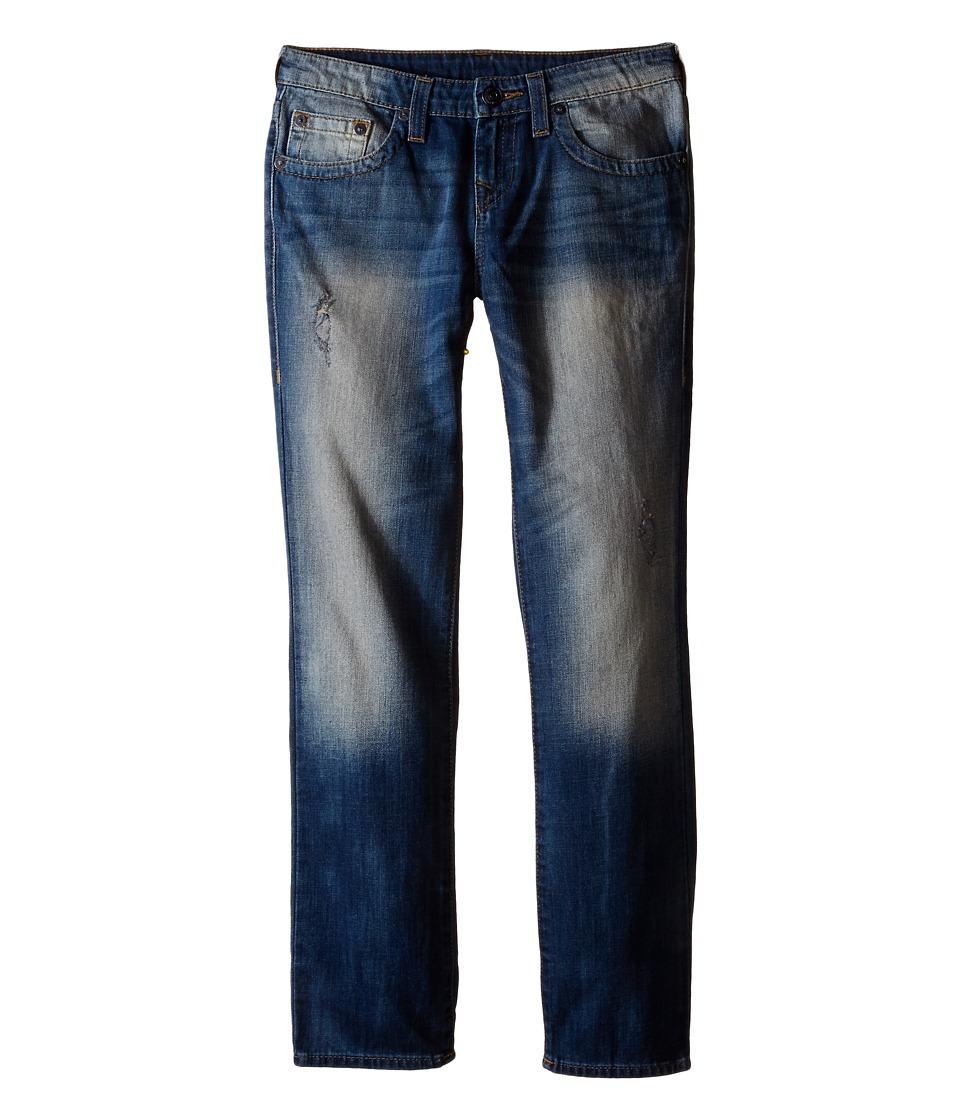 True Religion Kids Geno Single End Jeans in Beaten Blue Big Kids Beaten Blue Boys Jeans