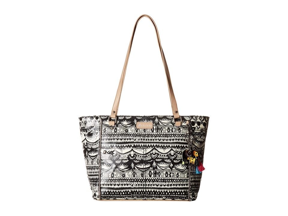 Sakroots - Artist Circle Medium Satchel (Black/White One World) Tote Handbags