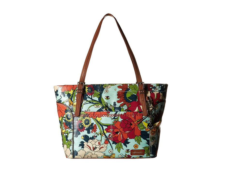 Sakroots Artist Circle Medium Satchel Seafoam Flower Power Tote Handbags