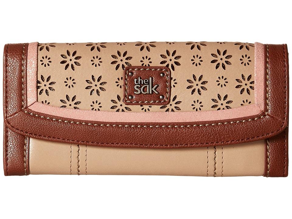 The Sak - Iris Flap Wallet (Taupe Floral Perf) Wallet Handbags
