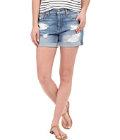 7 For All Mankind - Relaxed Mid Roll Shorts w/ Destroy in Rigid Blue Orchid