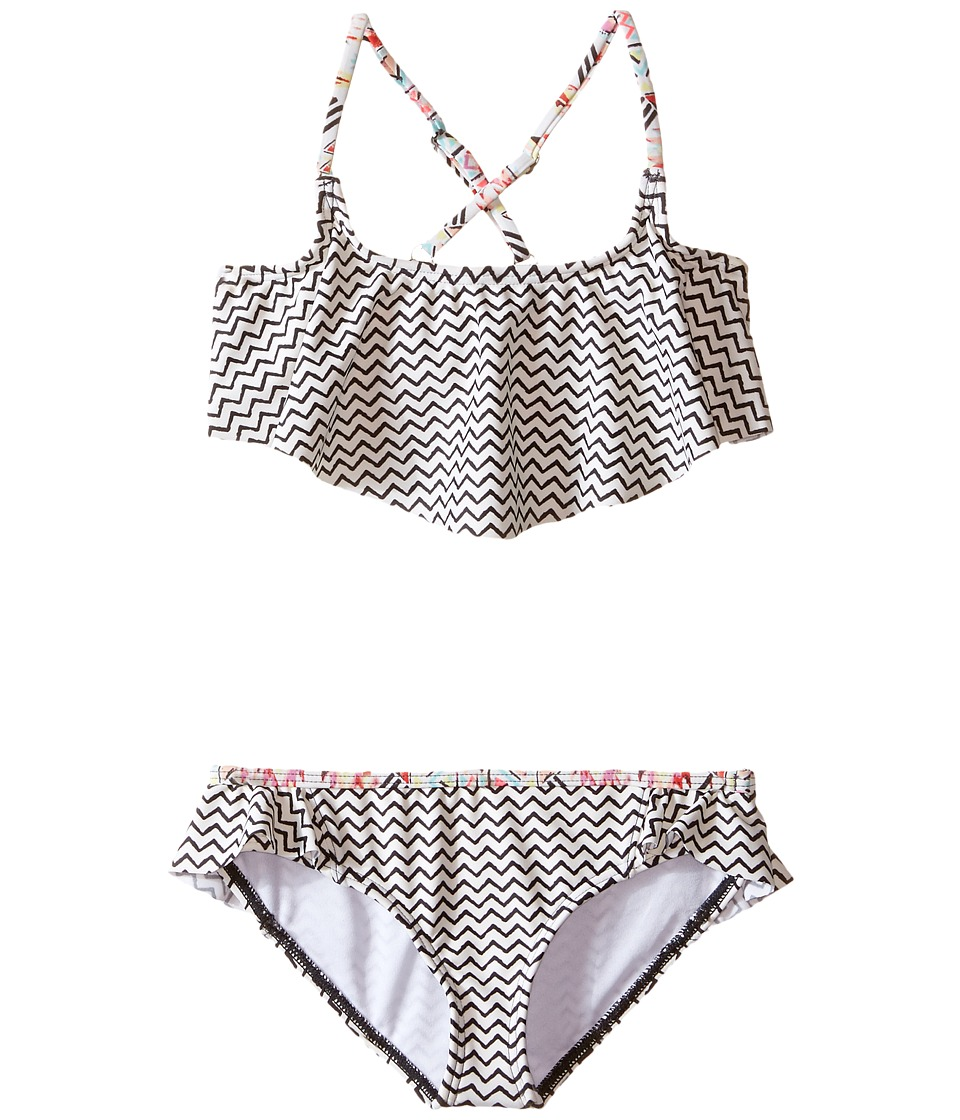 Billabong Kids Gee Gee Geo Flutter Set Little Kids/Big Kids Black Sands Girls Swimwear Sets