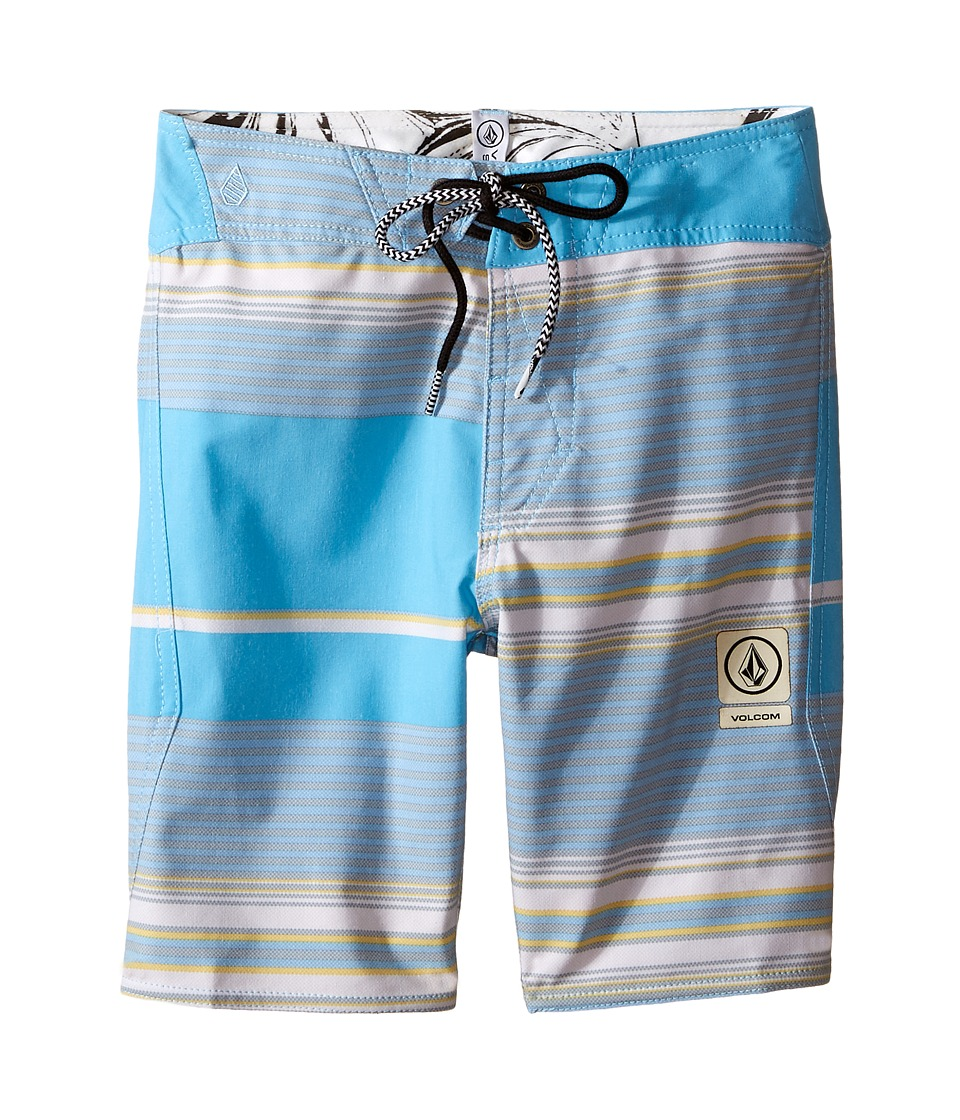 Volcom Kids Alton Stripe Slinger Boardshorts Big Kids Coastal Blue Boys Swimwear
