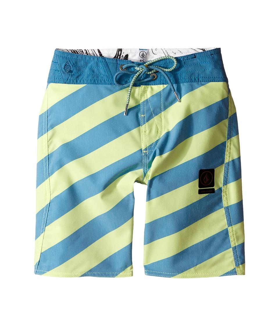 Volcom Kids Stripey Slinger Boardshorts Big Kids Lime Ice Boys Swimwear