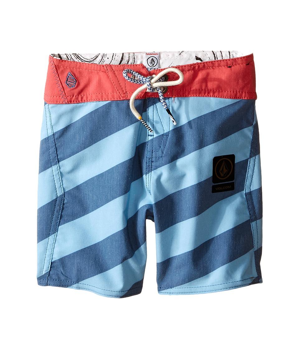 Volcom Kids Stripey Slinger Boardshorts Big Kids Smokey Blue Boys Swimwear