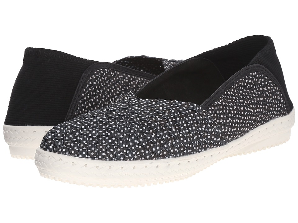 bernie mev. Beth Black Polka Dot Womens Slip on Shoes