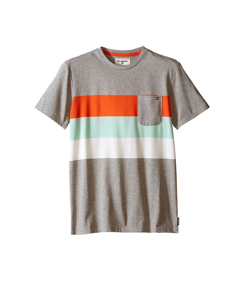 Billabong Kids Slice Short Sleeve Crew Big Kids Grey Heather Boys T Shirt