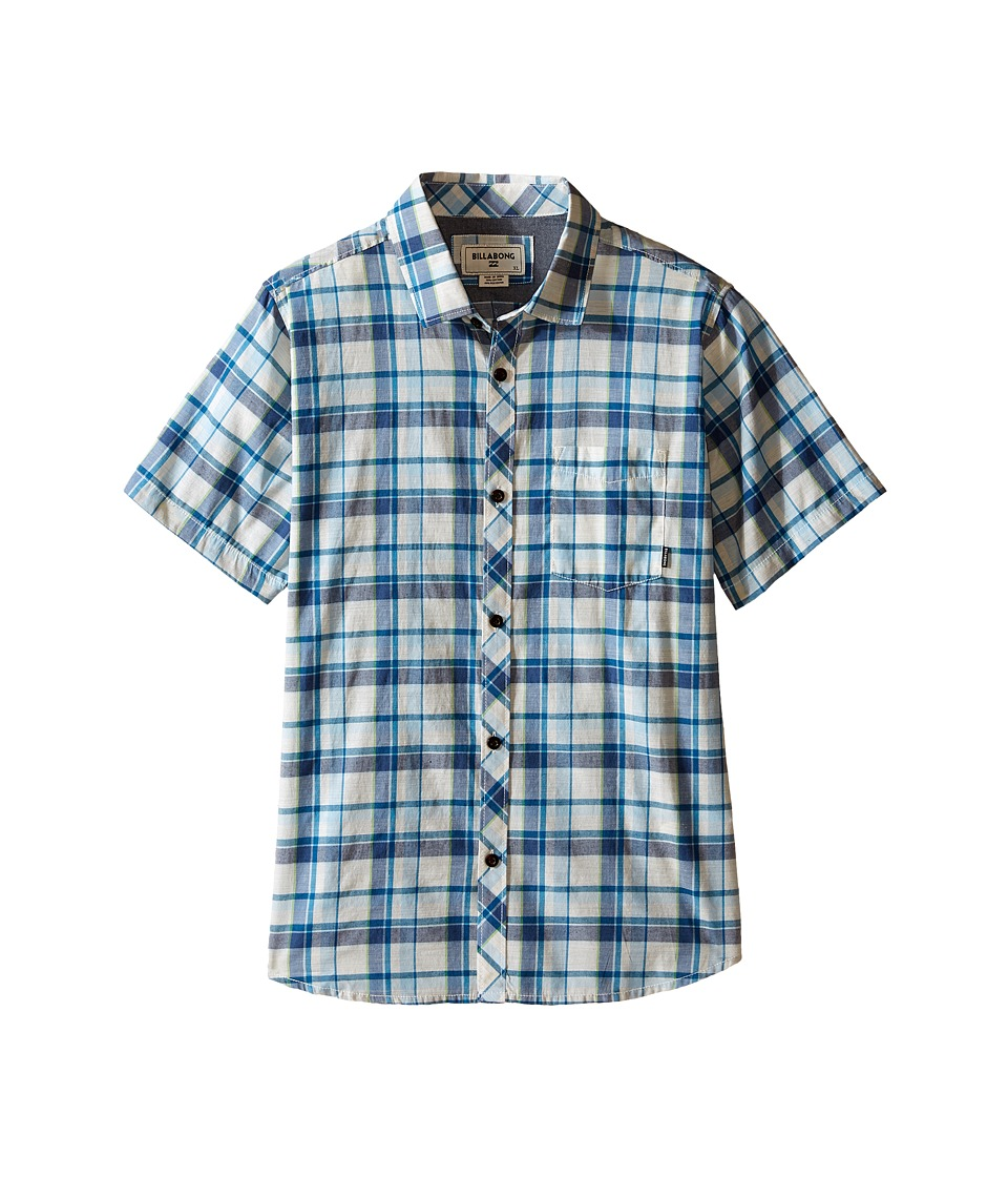 Billabong Kids Glenwood Woven Top Big Kids Stone Heather Boys Short Sleeve Button Up