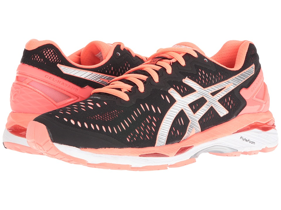Asics Gel-Kayano(r) 23 (Black/Silver/Flash Coral) Women's...