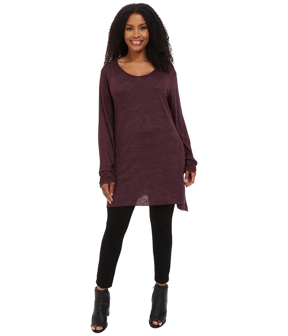 Allen Allen Plus Size Long Sleeve Scoop Angled Tee Eggplant Womens T Shirt