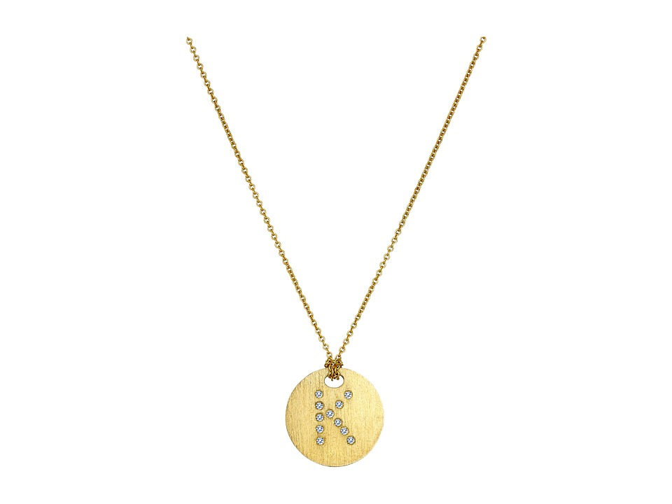 Roberto Coin - Tiny Treasures 18K Yellow Gold Initial K Pendant Necklace (Yellow Gold) Necklace