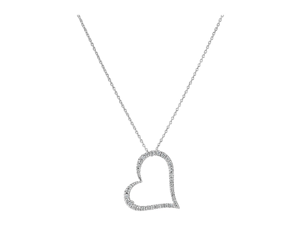 Roberto Coin - Tiny Treasures 18K White Gold Slanted Open Heart Necklace