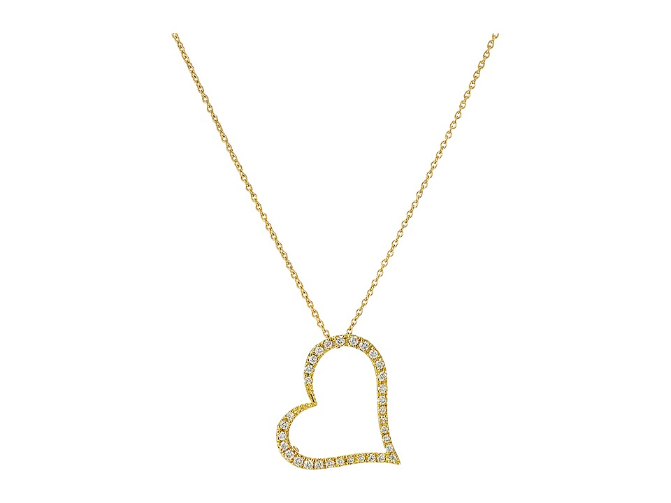 Roberto Coin - Tiny Treasures 18K Yellow Gold Slanted Open Heart Necklace (Yellow) Necklace