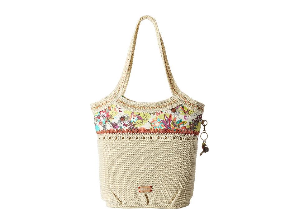Sakroots Artist Circle Crochet Large Tote Citrus Xen Garden Tote Handbags