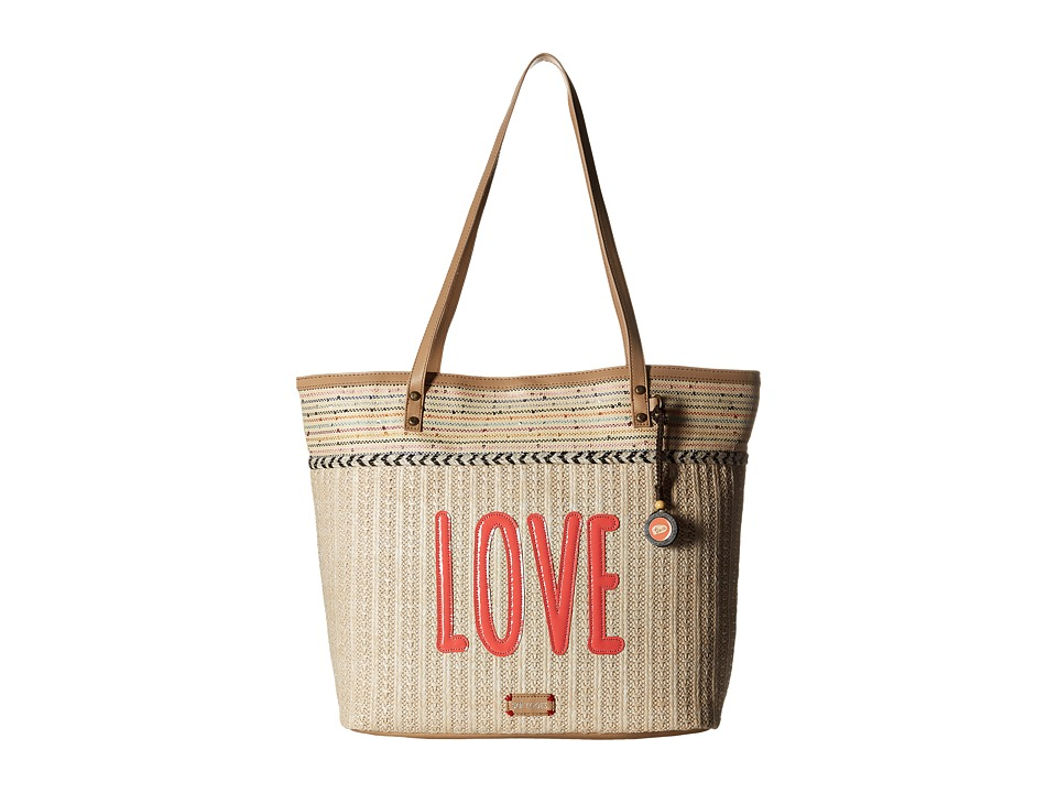 Sakroots - Artist Circle Straw XL Tote (Citrus Xen Garden) Tote Handbags