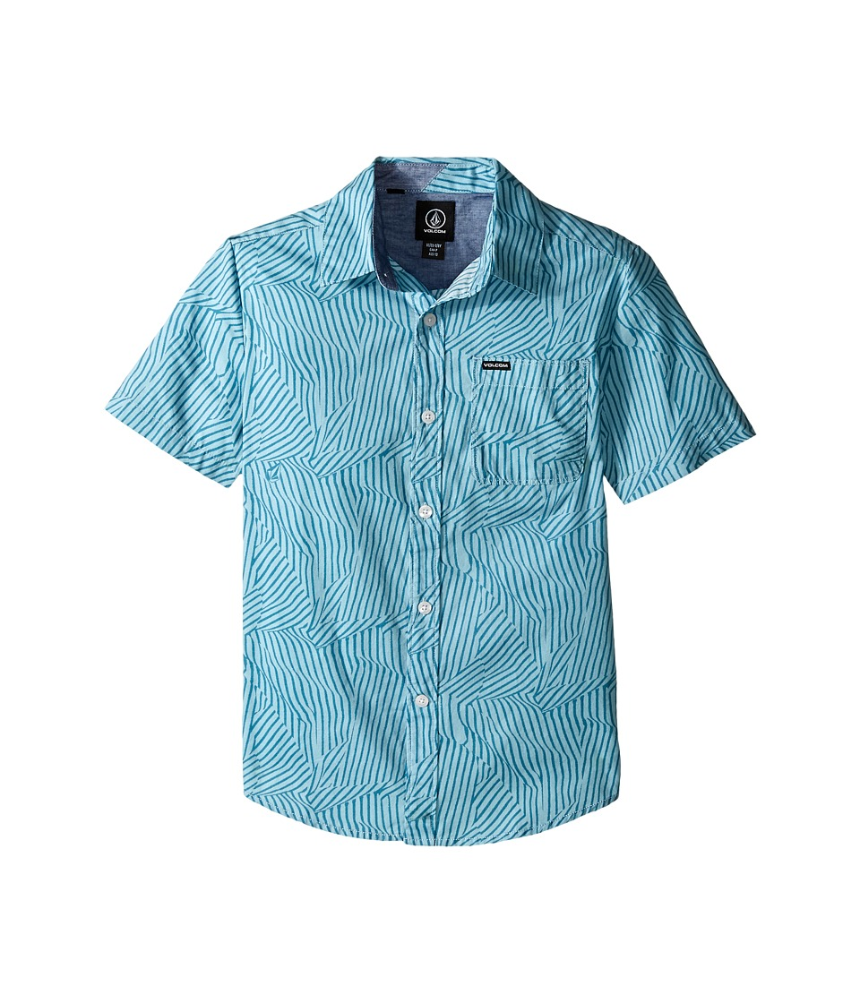Volcom Kids Bayfield Short Sleeve Woven Top Big Kids Vintage Blue Boys Short Sleeve Button Up