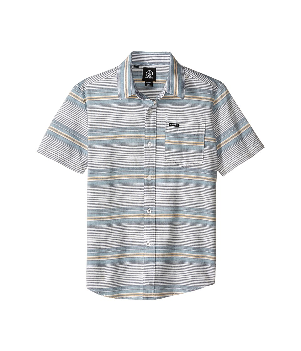 Volcom Kids Alton Chambray Short Sleeve Woven Top Big Kids Light Blue Boys Short Sleeve Button Up
