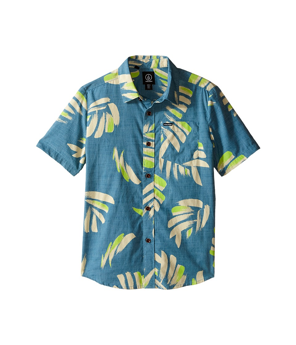 Volcom Kids Brush Palm Short Sleeve Woven Top Big Kids Stormy Blue Boys Short Sleeve Button Up