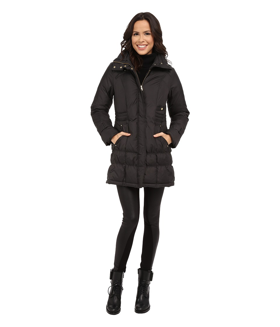Cole Haan - Down Coat with Cinch Bottom and Large Collar (Charcoal) Women